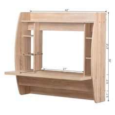 Wall Mounted Floating Computer Desk with Storage / Oak Floating Computer Desk, Floating Wall Desk, Wall Mounted Computer Desk, Floating Shelves Diy, Tv Unit Interior Design, Tv Wall Design, Home Office Shelves, Diy Furniture, Furniture Design