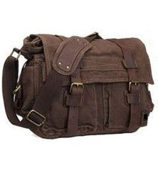 """Canvas and Leather Old School Messenger Bag 14"""" Length #Canvasmessengerbag #messengerbag"""