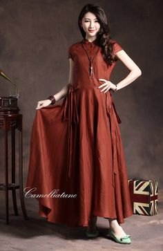 long evening dress in red / ruffle linen dress gown / formal dress cocktail dress on Etsy, 73,51€