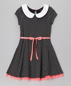 Take a look at this Zunie & Pinky Black & White Polka Dot Peter Pan Collar Dress - Girls on zulily today!