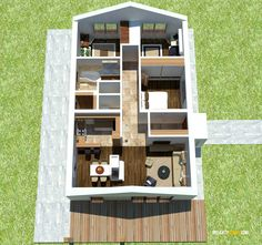 Nízkorozpočtový projekt domu bungalov na úzke pozemky Plans Loft, Small Floor Plans, House Plans, Bookcase, Shelves, Flooring, How To Plan, Home Decor, Type 1