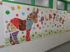 Mural Platero y yo : telas, flores y mariposas