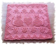 Ravelry: Kitty Love pattern by Lisa Vienneau Knitted Dishcloth Patterns Free, Knitting Squares, Knitted Washcloths, Knit Dishcloth, Knitted Blankets, Knitting Stitches, Knitting Designs, Knitting Patterns Free, Crochet Patterns