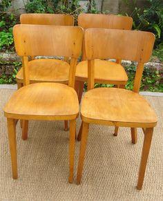 4 Chaises de bistrot THONET anciennes fabriquées en Tchécoslovaquie