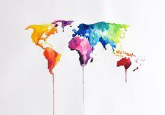 ORIGINAL+abstrakten+Welt+Karte+Aquarell+Gemälde+von+ArtCornerShop