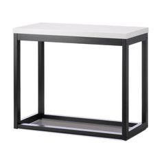 MODERN DESIGN BLACK FRAME & SLEEK WHITE TABLETOP LONG TABLE ENTRY WAY ~10017525 #Unbranded