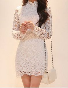 Stylish Stand Collar Long Sleeve Lace Dress For Women