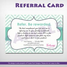 Thirty One Gifts Referral Card  Digital by PurplePaintDesign, $8.50
