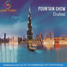 A captivating water, music and light spectacle in Downtown Dubai. Book The Dubai Fountain Lake Ride tour on Galaxy Tourism. Read More:- http://goo.gl/e0yJTd