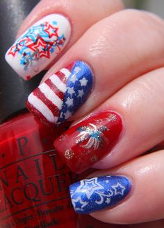 Finger Lickin' Good Fourth of July Nail Art See more swatches at www.beingmelody.com