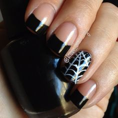 Halloween mani! French tips using OPI Black Onyx and spider web accent nail.