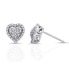 4b0e17ce1 Victoria Kay 1/5ct White Diamond Heart Halo Earrings in Sterling Silver  (JK, I2-I3)