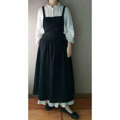 점버 롱스커트 Dress Skirt, Dress Up, Farm Fashion, Librarian Style, Apron Designs, Sewing Clothes, Refashion, Dress Making, Fashion Dresses