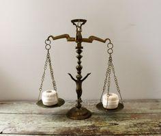 Vintage Brass Scales of Justice Cherub Figurine