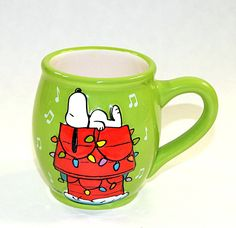 Peanuts Snoopy on Dog House Christmas Mug Cup 3D Holiday Lights Green Schulz  #PeanutsWorldwideLLC