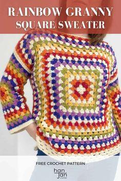 Crochet Box, Crochet Woman, Free Crochet, Crochet Granny, Knit Crochet, Beginner Crochet, Crochet Patterns For Beginners, Granny Square Sweater, Easy Crochet Projects