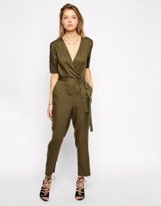 ASOS Premium Tencel Wrap Jumpsuit With D-Ring at ASOS. Shop this season's must haves with multiple delivery and return options (Ts&Cs apply). Olive Jumpsuit, Wrap Jumpsuit, Asos Premium, Playsuits, Jumpsuits, Overall, Rompers Women, Latest Fashion Clothes, Onesies