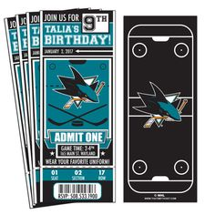 12 San Jose Sharks Custom Birthday Party Ticket Invitations - Officially Licensed by NHL