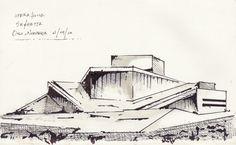 Opera House Architecture, Architecture Sketches, House Sketch, House Drawing, Oslo Opera House, Project 22, Norway, Villa, Presentation