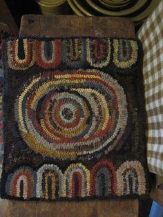 Fat Hen Farm Primitive Wool Hooked Rug Mat Prim Hit or Miss  ~♥~