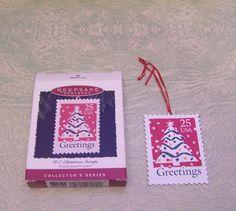 1995 enamel on copper Christmas tree stamp ornament in box Hallmark Keepsake U.S. postage by BigGDesigns on Etsy