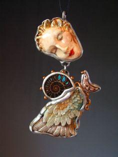 Jewelry necklace Art to wear goddess ammonite by SusanSorrentino