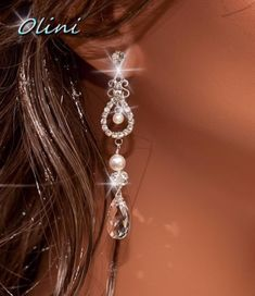 LIA - Bridal Swarovski Pearl, Teardrop Crystal and Rhinestone Earrings  100% Handmade in USA  Choose Your Pearl, Crystal Colors and Finish www.OliniBridal.com
