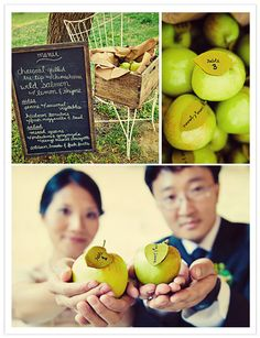 Having an outdoor #wedding? Use this unique way to use the outdoors as the theme with apple's as table seating. #event #wedding