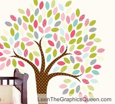 Large Patterned Tree Wall Decal with Cute Owl on Branch • Personalize Girls Bedroom Playroom Nursery • Reusable Wall Stickers for Kids by LeenTheGraphicsQueen on Etsy https://www.etsy.com/listing/102874623/large-patterned-tree-wall-decal-with