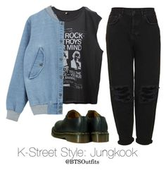 """K-Street Style: Jungkook"" by btsoutfits ❤ liked on Polyvore featuring R13, Boutique and Dr. Martens"