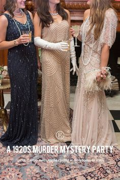 to Throw a Glam Murder Mystery Party! How to Throw a Glam Murder Mystery Party!How to Throw a Glam Murder Mystery Party! Mystery Dinner Party, Murder Mystery Parties, Mystery Games, Mystery Novels, Estilo Charleston, Clue Party, Flapper Party, Diy Flapper Costume, Prohibition Party