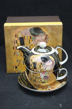 """Gustav Klimt Tee for One """"Der Kuss"""" schwarz Porzellan mit Geschenkbox Gustav Klimt, Tableware, Collection, Atelier, China China, Kiss, Black, Dinnerware, Dishes"""