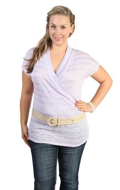 Deb Shops plus size striped and belted tunic top