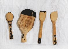 Geo Painted Wooden Kitchen Tools