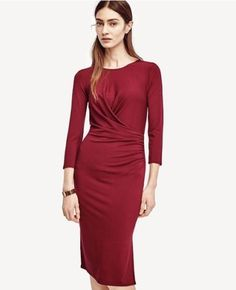 $45 (16) 117-ANN-TAYLOR-RUCHED-JERSEY-DRESS-xs-0-2-wine-new-with-tags-burgundy-red-Loft   RUCHED JERSEY  DRESS  WAS $117.60  $83.99  4.1 / 5  28 reviews    STYLE #391363  93% RAYON, 7% SPANDEX  IMPORTED  MACHINE WASHABLE  IMPORTED        With richly saturated color, this soft and stretchy style is impeccably ruched to create one of our all-time greatest fits. Top it off with classic accessories and standout heels for maximum impact. Jewel neck. 3/4 sleeves. Shirred front wrap overlay. Side…