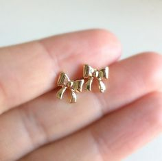 Tiny Bow Earrings by EridaneasBoutique on Etsy