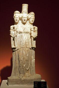 Triple Hecate, Roman statue (marble), 3rd century AD, (Antalya Müzesi, Antalya). [photo by Dick Osseman]