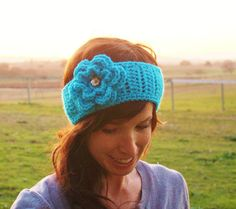 Crochet Headband Holiday in Turquoise with by TheFreckledYarn,