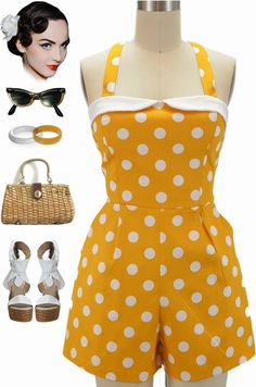 """Brand new and in stock!!! Our """"Poolside Pinup Polka Dot Playsuit"""" available in 5 shades of summery goodness named after my favorite beaches... - Only $42 with Fast & FREE U.S. s/h! We also ship worldwide and only charge exact shipping costs... Go! Get your beach babe on!! Buy them all here: http://lebombshop.net/search?type=product&q=%22poolside+pinup+polka+dot%22&search-button.x=0&search-button.y=0"""