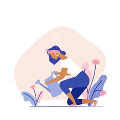 Female Character Gardening Plants On The Backyard. Flat Design Illustration, Woman Illustration, Character Illustration, Digital Illustration, Graphic Illustration, Jobs In Art, Anime Art Girl, Cartoon Styles, Illustrations