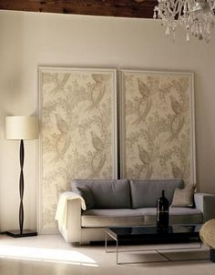 large framed fabric or wall paper-makes art for the home