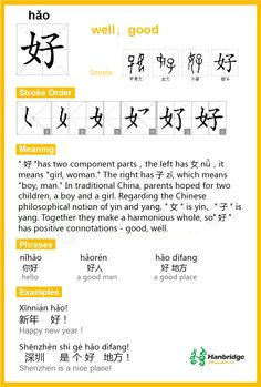 "Chinese character ""好"" Pinyin(hăo) means:hello, hi, how do you do, how are you Nĭ hăo, lăo péng yŏu! – English translation: Hello, old friend!"