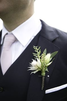 I like the unique composition of this boutonniere. This is probably my favorite boutonniere pic. Bride Bouquets, Bridesmaid Bouquet, Groom Boutonniere, Boutonnieres, Floral Wedding, Wedding Flowers, Wedding Blush, Spring Wedding, Wedding Day