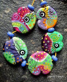 °° Jasmin French °° Green Smoothie Lampwork Beads Set SRA   eBay