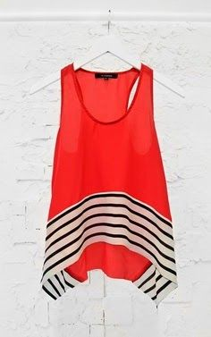 Cute black and white stripes tank in red