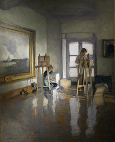 Au musée, huile, Antoine Vincent