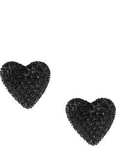 BLACK HEART STUD EARRING BLACK accessories jewelry earrings fashion