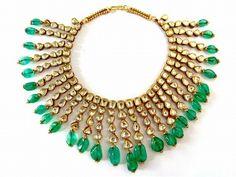 Diamond, emerald and gold bib necklace by Gem Palace