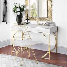 The Lexie desk will make a glamorous addition to any space. A matte grey lacquer finish offers a stylish contrast to the brushed gold steel base while the lucite drawer handles add a pop to this chic desk. Two drawers offer plenty of space for notepads, p Home Office Design, Home Office Decor, Home Decor, Office Ideas, Office Furniture, White Lacquer Desk, Hollywood Regency Bedroom, Chic Desk, Armoire