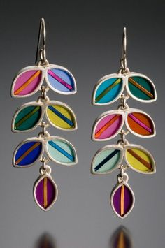 Tami Rodrig: Long vine earrings,multi color,resin inlay,sterling silver,mixed media,hand made